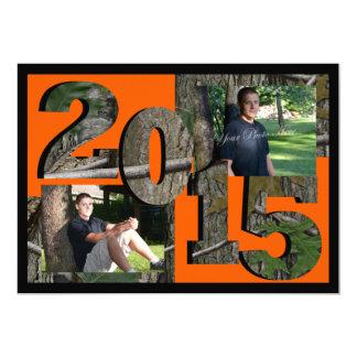 2015 Tree Camo Twin Photo Hunter Orange 5x7 Paper Invitation Card