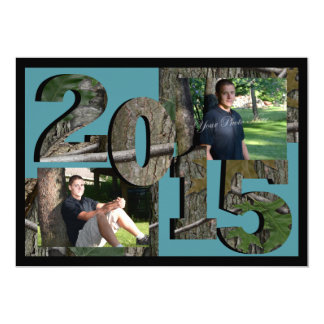 2015 Tree Camo Twin Photo Teal 5x7 Paper Invitation Card