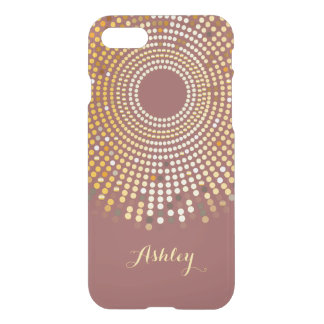 2015 Trendy Marsala Wine Red and Gold Sparkle Dots iPhone 7 Case