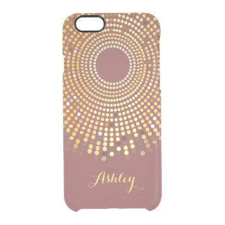 2015 Trendy Marsala Wine Red and Gold Sparkle Dots Uncommon Clearly™ Deflector iPhone 6 Case