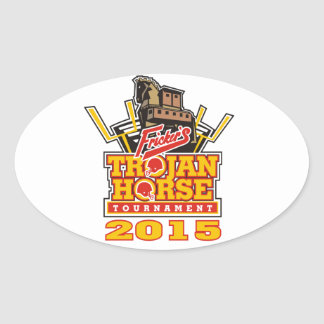 2015 Trojan Horse Logo Designs Oval Sticker