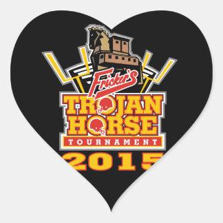 2015 Trojan Horse Logo (on darks) Heart Sticker