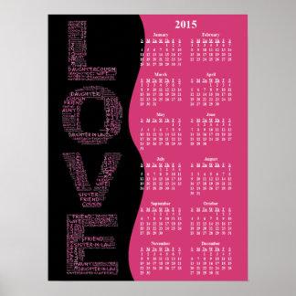 2015: Un año de calendario de pared anual del amor Póster