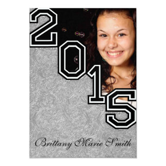 2015 Unique Graduate YOUR PHOTO HERE Silver Ornate 5x7 Paper Invitation Card