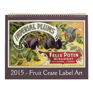 2015 vintage americana, arte de la etiqueta del calendarios