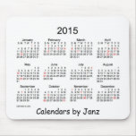2015 White Calendar by Janz with Holidays Mouse Pads