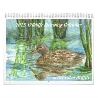 2015 Wildlife Watercolor Pencil Drawing Calendar