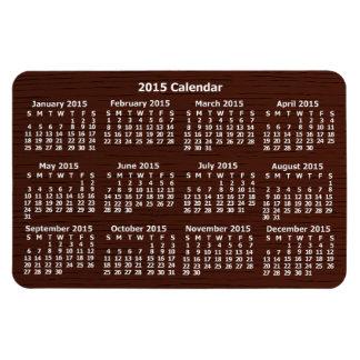 2015 Year Calendar Brown Wood Grain Rectangular Photo Magnet