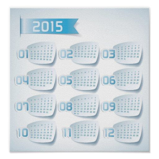 Calendar Posters 2015 : Yearly calendar poster custom print zazzle