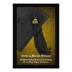 2015 Yellow Gold Black Tassel College Graduation 5x7 Paper Invitation Card
