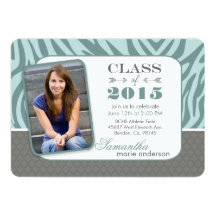 "2015 Zebra Quatrefoil Graduation Invitations 5"" X 7"" Invitation Card"