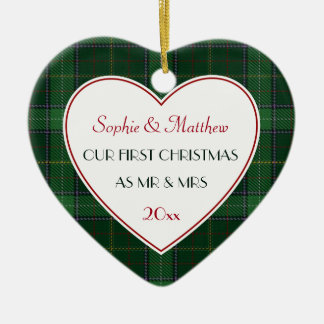 2016 1st Christmas Married Green Plaid Ceramic Ornament