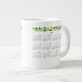 2016-2017 Jumbo Calendar Mug-Stenciled Rose Yellow Jumbo Mug
