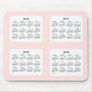 2016-2019 calendario color de rosa brumoso de Janz Tapete De Ratón