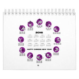 2016 años chinos felices del zodiaco del Año Nuevo Calendarios De Pared