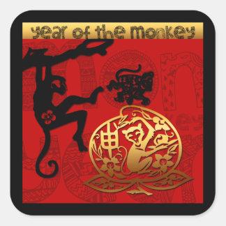 2016 años del Año Nuevo chino del mono Pegatina Cuadrada