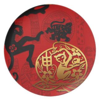 2016 años del Año Nuevo chino del mono Plato Para Fiesta