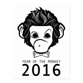 2016 años del mono (bowtie) tarjeta postal