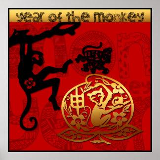 2016 años del poster chino del Año Nuevo del mono