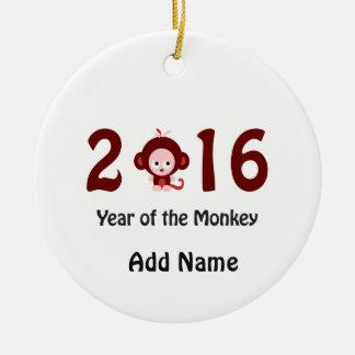 2016 años lindo del mono adorno navideño redondo de cerámica