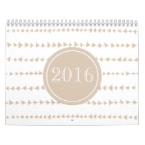 2016 Beige White Aztec Arrows Monogram Calendar