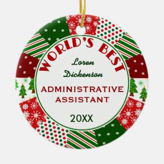 2016 Best Admin Asst or Any Person Gift Ceramic Ornament
