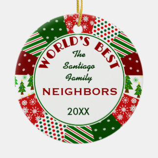 2016 BEST NEIGHBORS or Any Name Ceramic Ornament