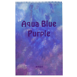 2016 Calendar Abstract Art Blue Purple One Page