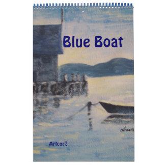 2016 Calendar Art Blue Boat Single Page