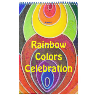 2016 Calendar Art Rainbow Colors One Page