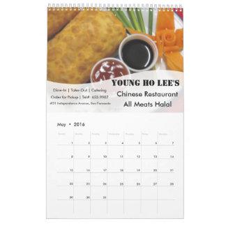 2016 Calendar for Restaurant & Food Business