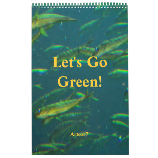 2016 Calendar Go Green Golden Fish One Page