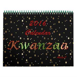 2016 Calendar Kwanzaa Golden Stars Standard 2 Page