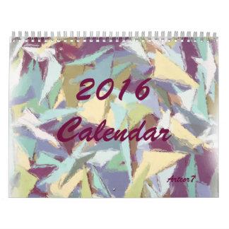 2016 Calendar Pastel Abstract Art Standard 2 Page