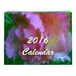 2016 Calendar Pink Azalea Art Huge Two Pages