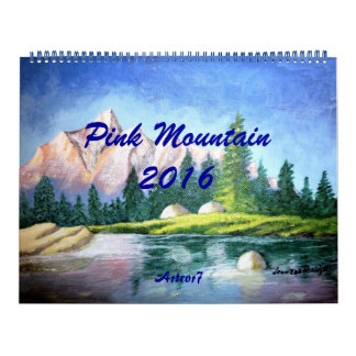 2016 Calendar Pink Mountain Painting Huge Two Page