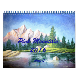 2016 Calendar Pink Mountain Painting Two Page