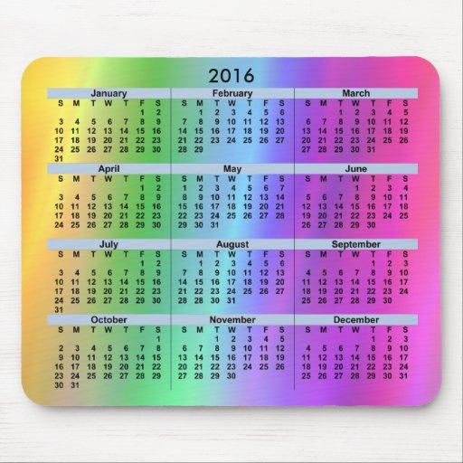2016 Calendar Rainbow Mousepad