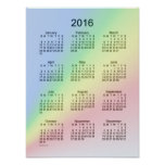 2016 Calendar Rainbow Poster