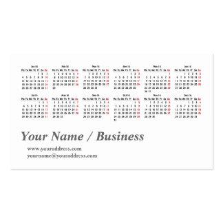 2016 calendar template Business Card
