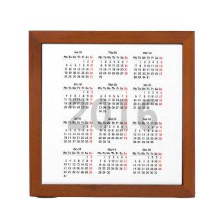 2016 calendar template desk organizer