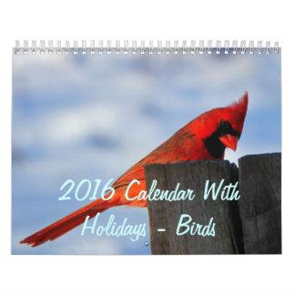 2016 Calendar With Holidays - Birds