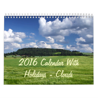 2016 Calendar With Holidays - Clouds