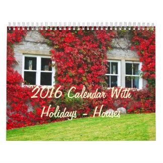 2016 Calendar With Holidays - Houses