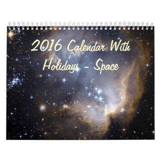 2016 Calendar With Holidays - Space