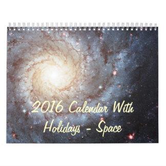 2016 Calendar With Holidays - Space Photos