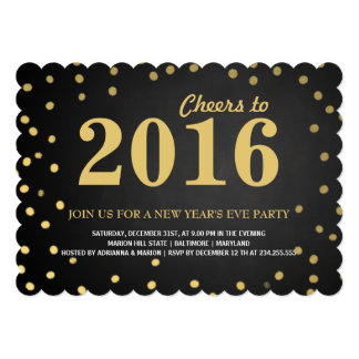 2016 Chalkboard Gold Confetti New Years Party 5x7 Paper Invitation Card