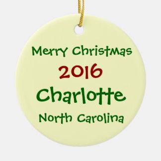 2016 CHARLOTTE NORTH CAROLINA CHRISTMAS ORNAMENT