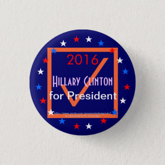 """2016 """"Checkbox"""" Sign Hillary Clinton for President Pinback Button"""