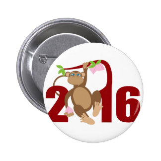 2016 Chinese Monkey on Tree with Longevity Fruits 2 Inch Round Button